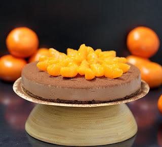Cheesecake de xocolata amb llet i mandarina (sense forn)