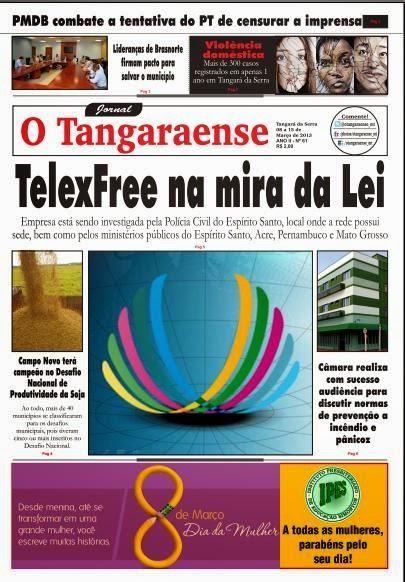 Jornal O Tangaraense traz reportagem especial sobre a Telex Free