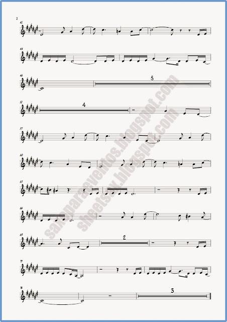 Partitura de crimen para saxo alto, trompeta y clarinete Hoja 2