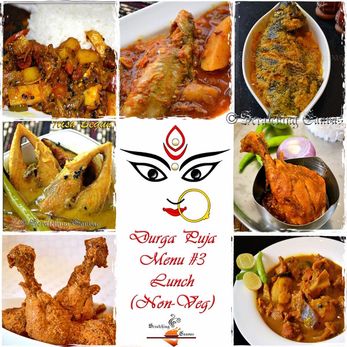 Durga pujor bhuribhoj bengali festival food menu roundup non veg durga puja lunch meat forumfinder Choice Image