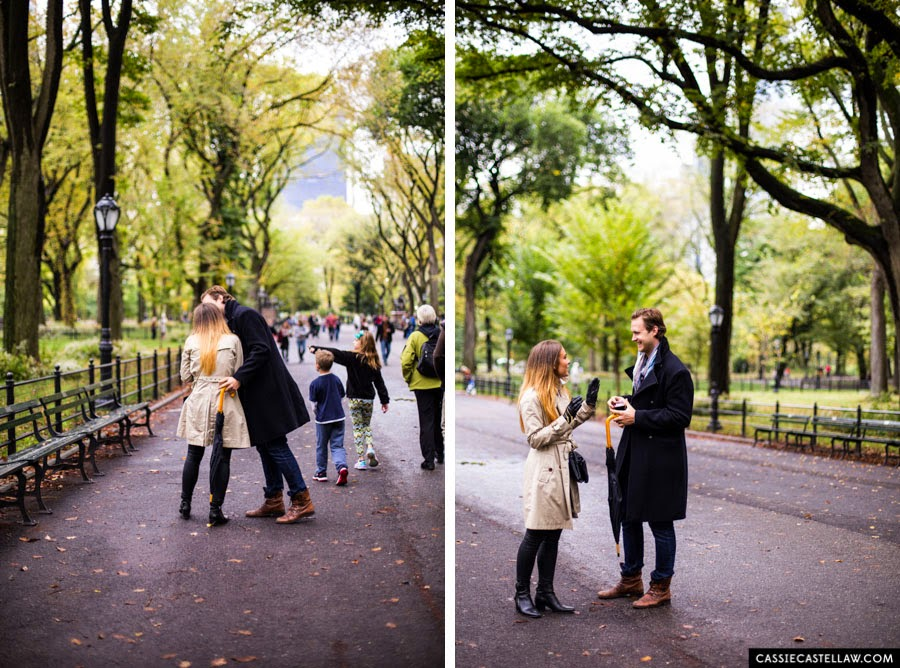 Proposal in Central Park after a fall, October rain - www.cassiecastellaw.com