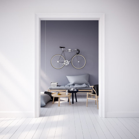bike on the wall as decoration