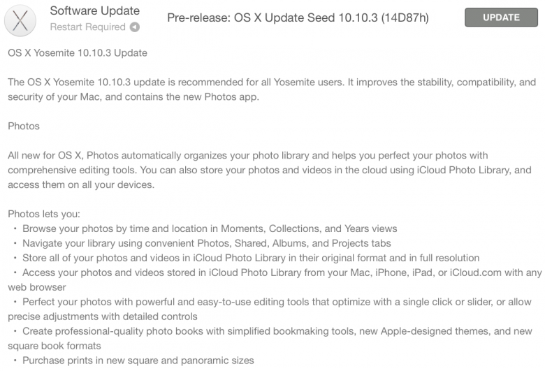 Mac OS X Yosemite 10.10.3 Beta 2 (14D87h) Features and Changes