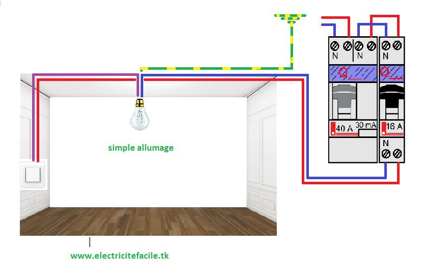 Sch ma lectrique simple allumage sch mas lectriques - Branchement interrupteur va et vient en simple allumage ...