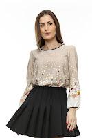 Bluza bej din vascoza B57 (Ama Fashion)