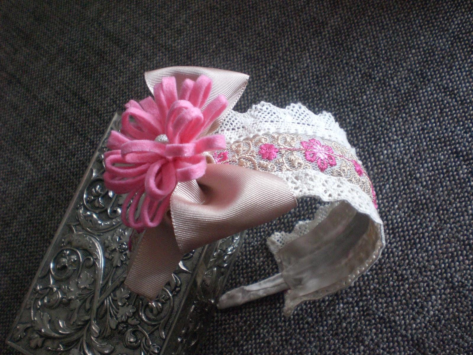 Los tesoros de bella coquette diadema encaje rosa - Diademas de encaje ...