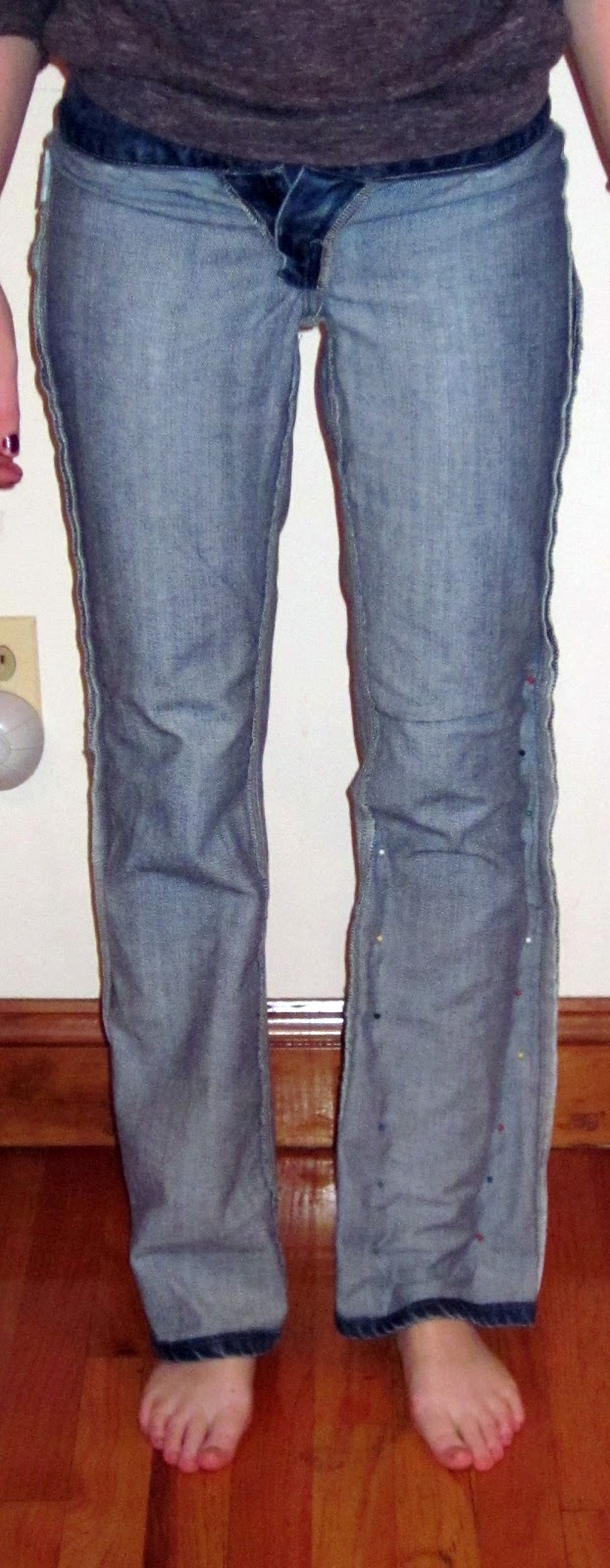 The Crafty Novice DIY Jeans Refashion Flares to Straight Leg