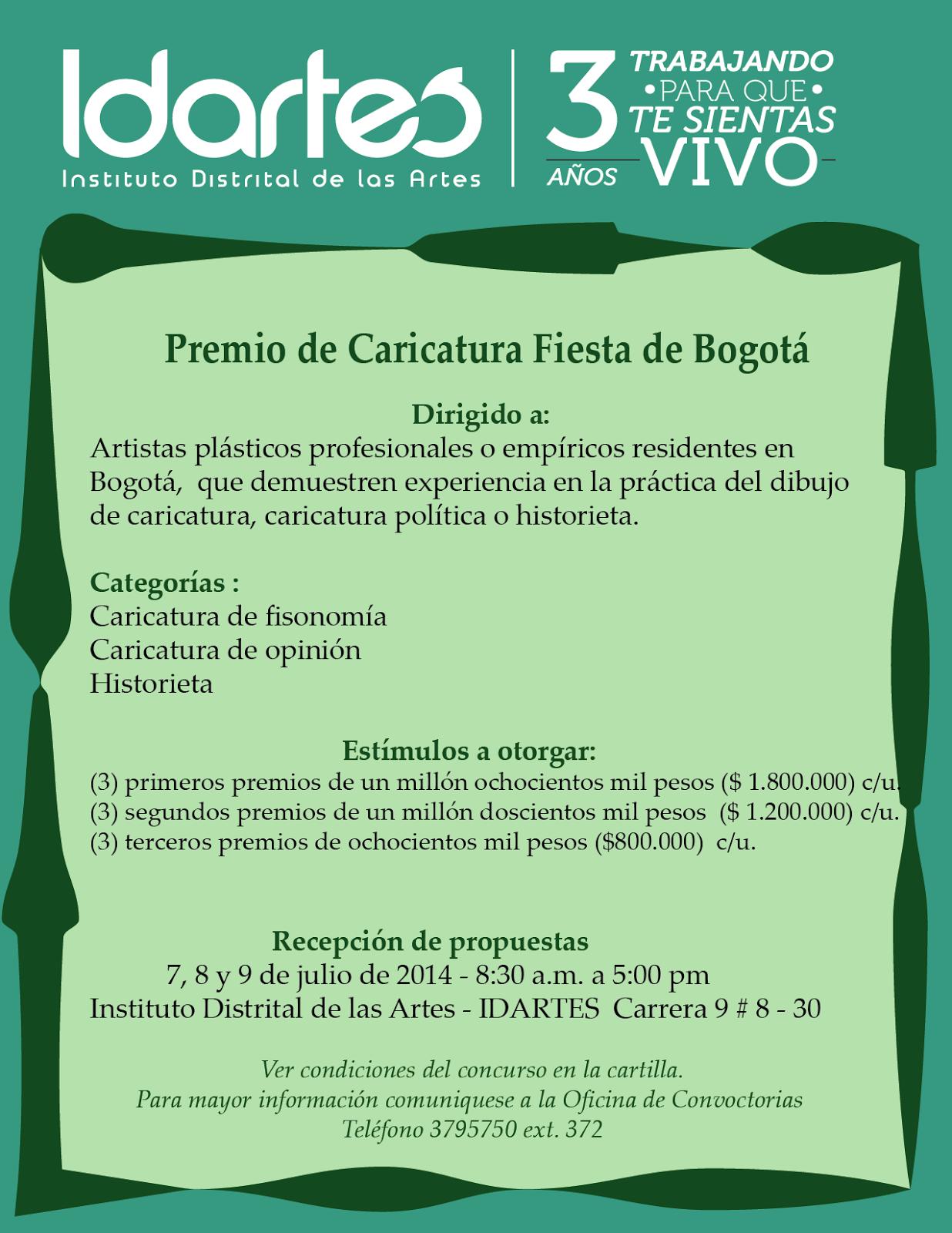 CARTILLA PREMIO DE CARICATURA FIESTA DE BOGOTÁ