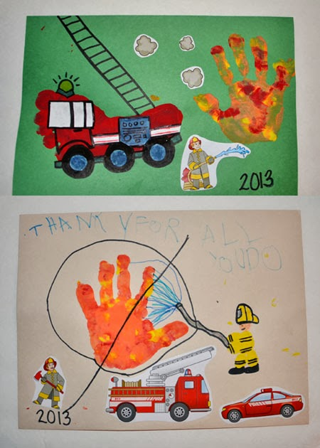 Footprint Firetruck & Handprint Fire Thank You Card