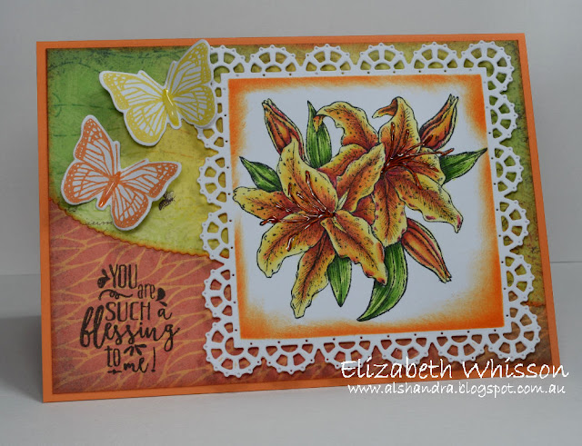 Our Daily Bread Designs, Elizabeth Whisson, Copics, Stargazer Lily, Boho Blessings, Layered Lacey Squares, Christian Faith Collection, Butterfly, Trois Jolies Papillon