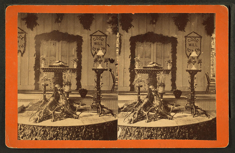 Rustic pulpit, March 16th, 1879, from the Robert N. Dennis collection of stereoscopic views @ Wikicommons.