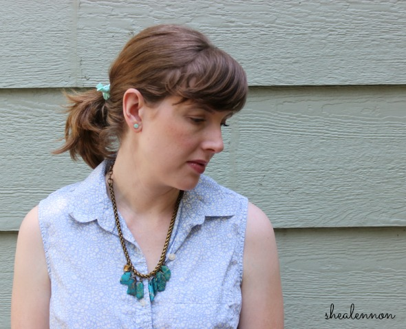 pastel shirt with chunky statement necklace | www.shealennon.com