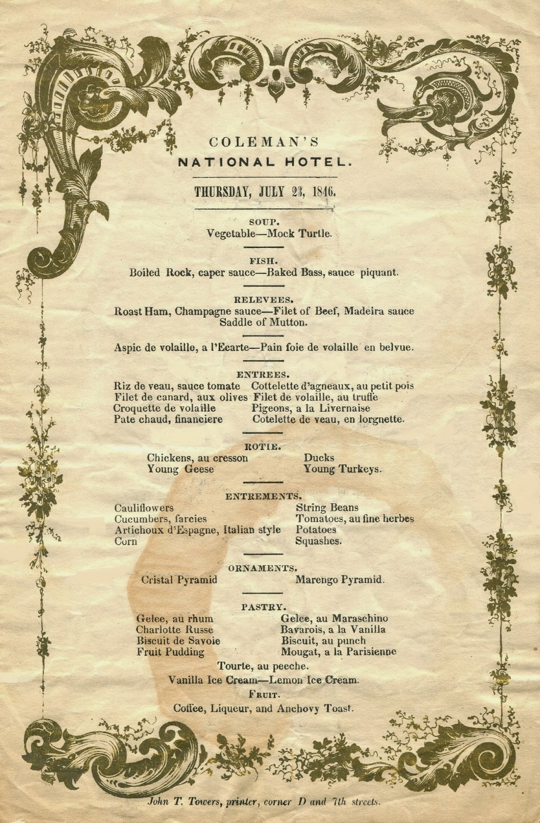 The american menu the nativist printer for Table 6 brunch menu