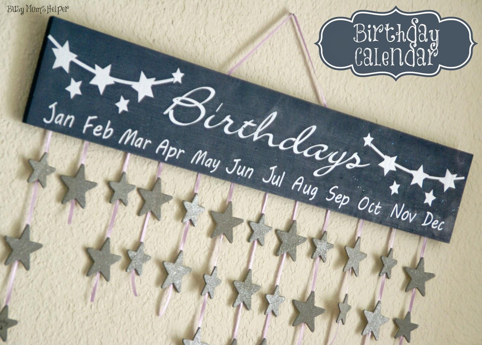 Diy Birthday Calendar : Birthday calendar diy busy moms helper