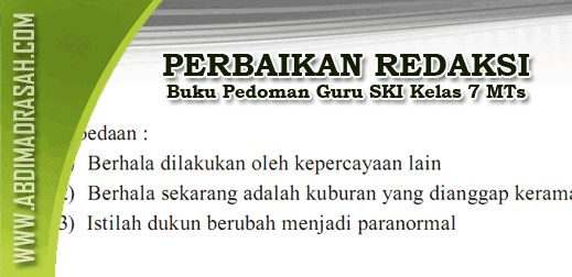 Perbaikan Redaksi Buku SKI MTs