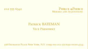American psycho business cards in latex latex business card template from mike elerys website after playing with the alignment and fonts i was able to create a decent patrick bateman card flashek