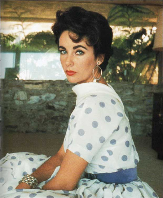 1950s polka dot dress Elizabeth Taylor Just Peachy, Darling