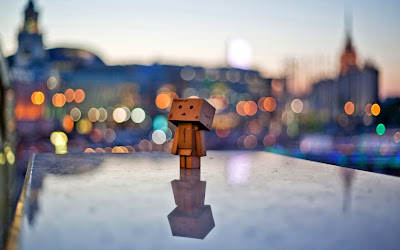 Danbo Box Man Bokeh Lights Behind