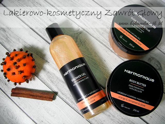 Harmonique żel pod prysznic masło do ciała peeling pomarańcza cynamon goździki naturalne kosmetyki