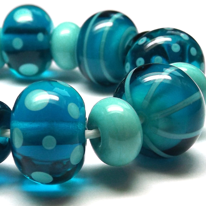 Lampwork glass beads made with CiM 'Marine'