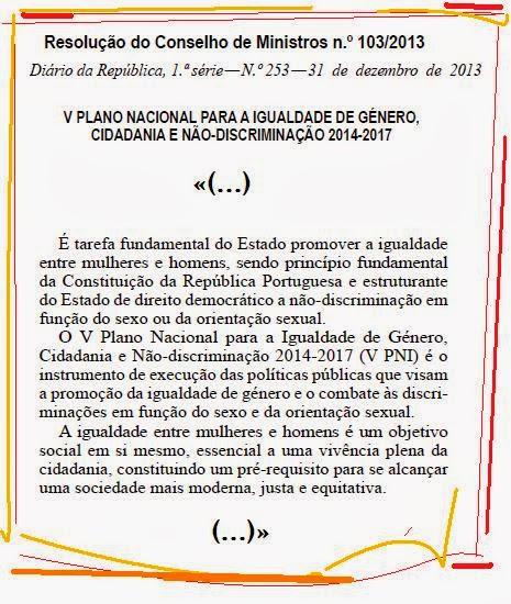 V Plano Para a Igualdade de Género, Cidadania e Não-discriminação 2014 - 2017