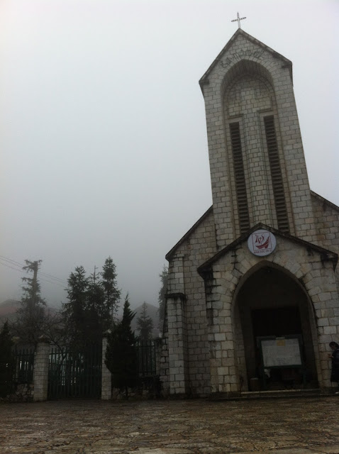 Hanoi city church fog