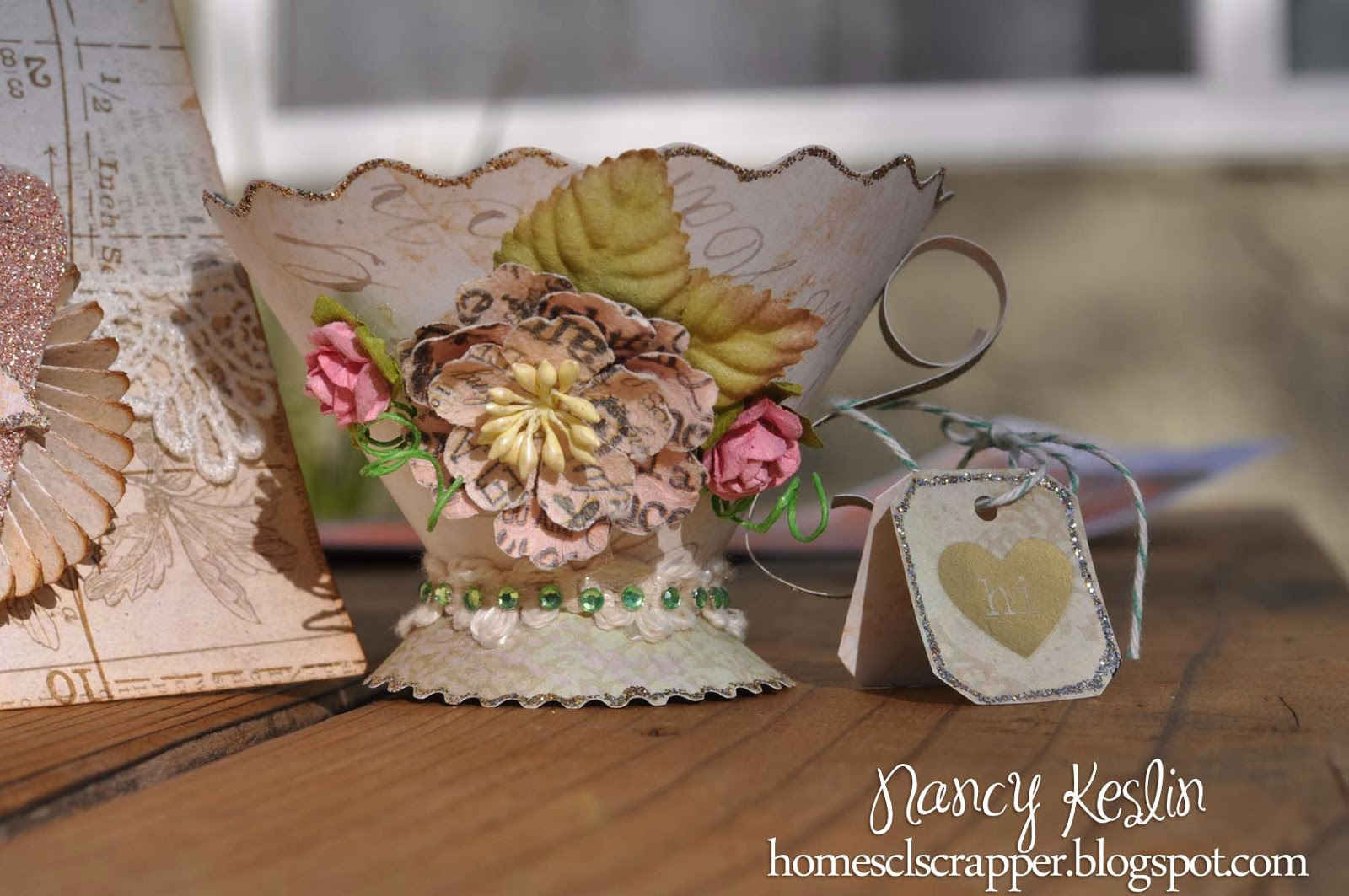 teacup, flowers, prima, sizzix,