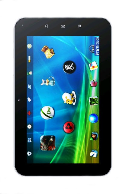 Front view on the tablet, there are three buttons on the touch panel