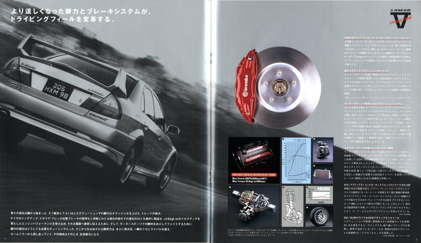 Mitsubishi Lancer Evolution V, CP9A, popularne sportowe auta, sportowe samochody, japońskie, JDM, broszura, zdjęcia, silnik