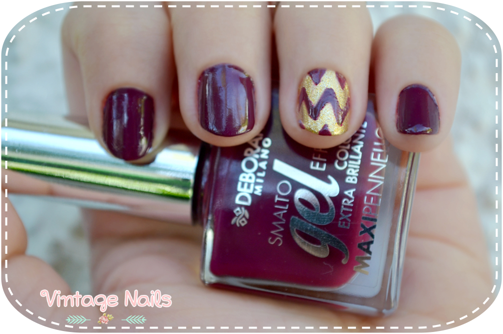 nail art, vintage nails, manicura, manicure, deborah milano, china glaze, chevron nails, chevron