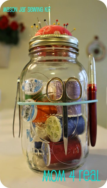 diy mason jar crafts for sewing kit