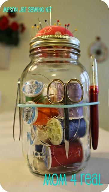 diy mason jar crafts for sewing kit