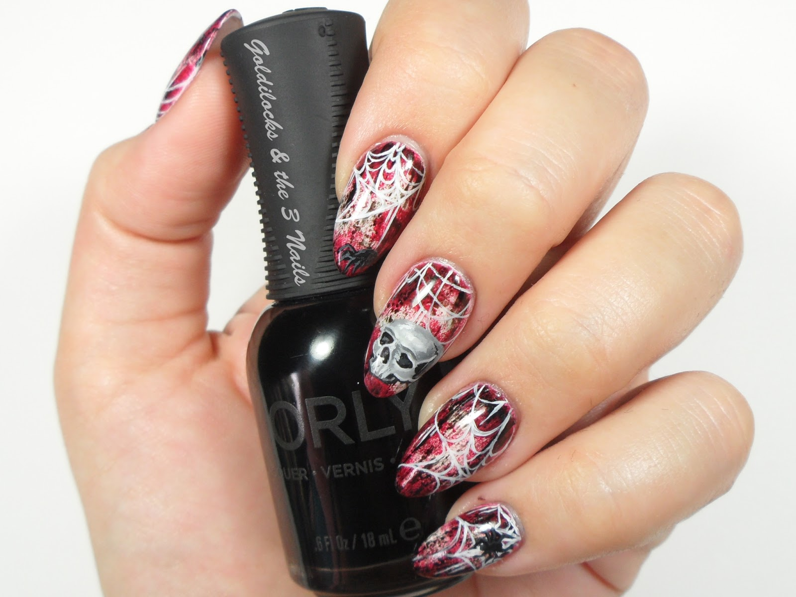 Goldilocks & the Three Nails: Skull & Spider Web Nail Art