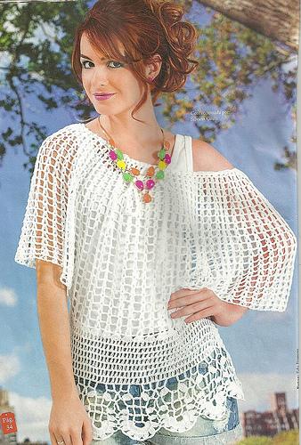 #681 Patrón Blusa con mangas murciélago a Crochet