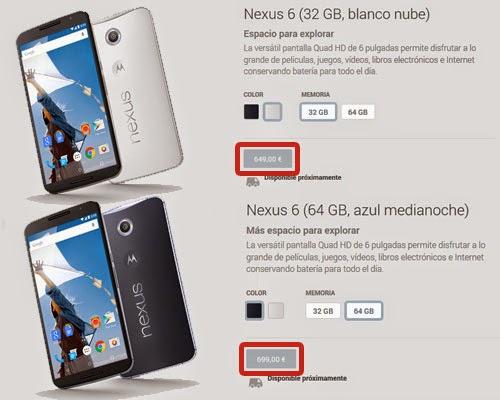 El precio de venta del Nexus 6 en Google Play.