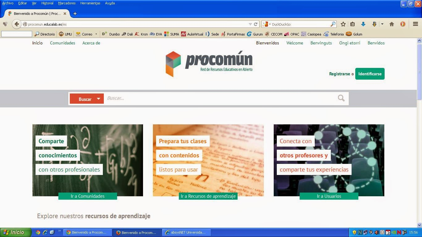 """pantallazo"" de Procomún"