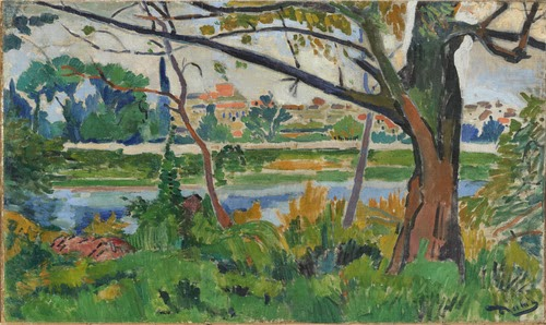 pintura de rio sena