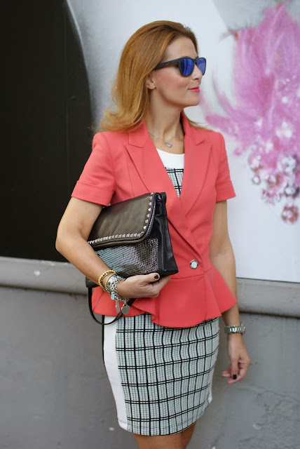 Half sleeve peplum blazer, Patrizia Pepe, Zara check dress, Fashion and Cookies, fashion blogger