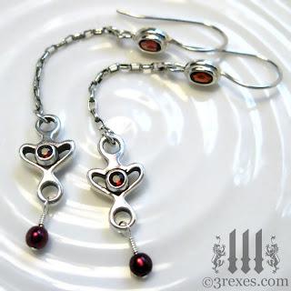 heart earrings garnet