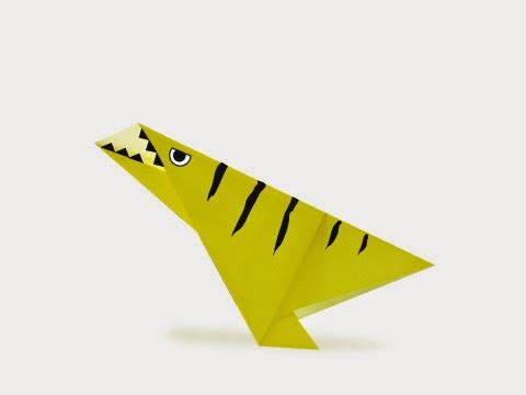 Hướng dẫn cách gấp con khủng long Dinonychus bằng giấy đơn giản - Xếp hình Origami với Video clip
