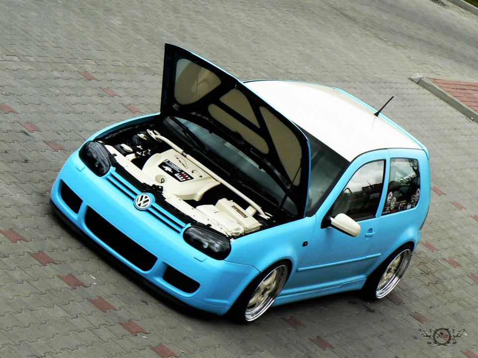 Modified Cars Volkswagen Cyan Golf Mk4 With White Roof Top