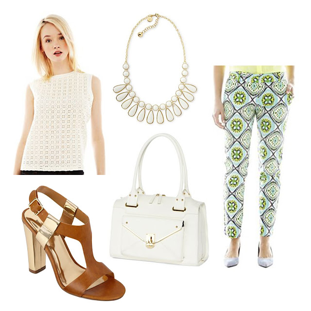joe fresh, jcpenney, spring, summer, white, outfit, printed pants, neon, fresh