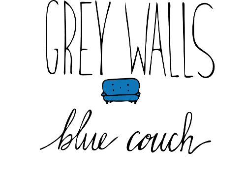 grey walls  blue couch