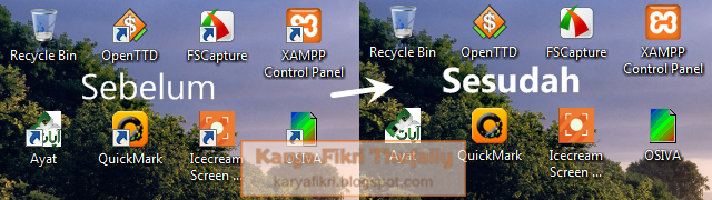 Screenshot sebelum dan sesudah panah pada ikon shortcut dihilangkan (karyafikri.blogspot.com)