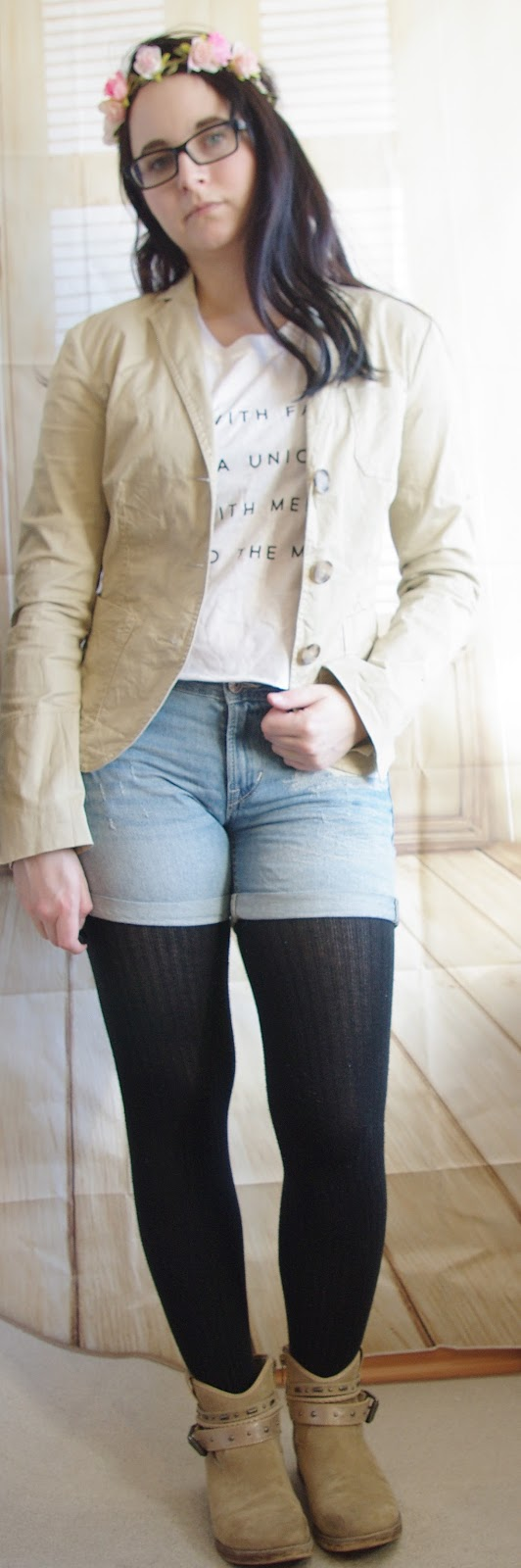 Denim Shorts, Crop Top, Blazer, Tights and Boots