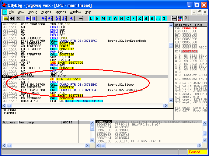 OllyDbg is a 32-bit assembler level analysing debugger for Microsoft Window