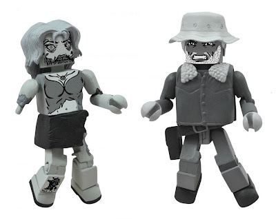 Halloween ComicFest Exclusive The Walking Dead B&amp;W Minimates 2 Pack by Diamond Select Toys - Dale &amp; Female Zombie Action Figures