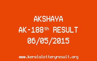 Akshaya AK 188 Lottery Result 6-5-2015