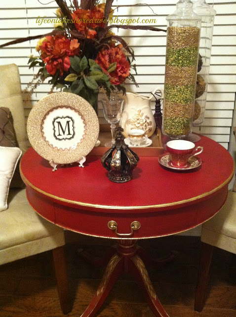 "alt=""annie sloan chalk paint emperors red gold gilding wax table makeover"""