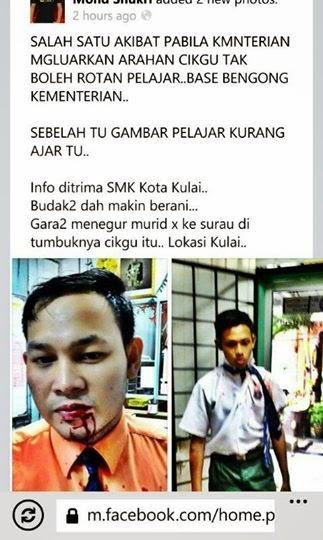 Budak Tingkatan 2 SMK Kota Kulai Johor pukul cikgu sampai berdarah